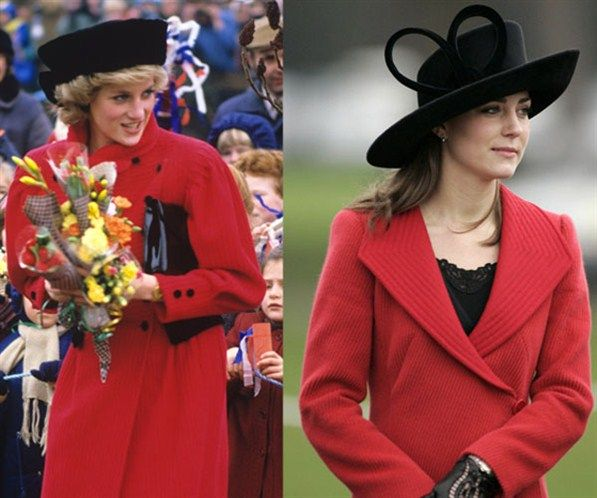Princess Diana and Kate with hats. I wish Diana could have been here 4 Will & Kate. she would b so very proud.