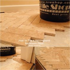 How To: Herringbone: Again, purchase a cheap tile and lay it in a unique pattern for a special look.