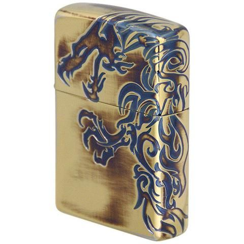Zippo Lighter Japanese Stream Dragon Antique Gold 3 sides etching