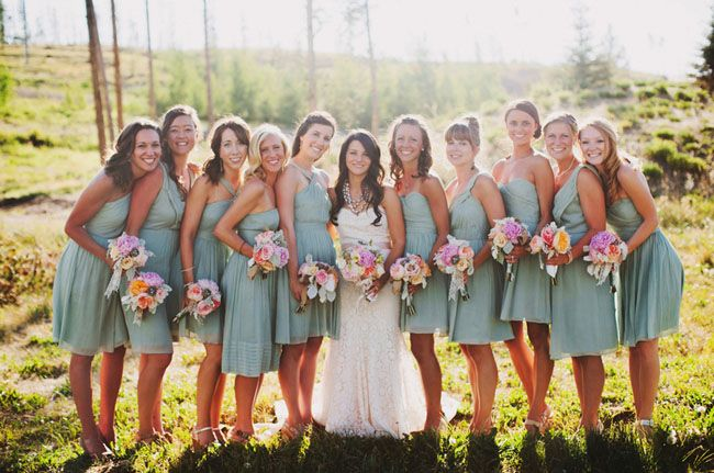 jcrew dusty shale bridesmaid dresses- this color would be great with Sunflowers and is very in this season!