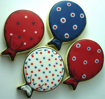 CookieCrazie: Happy Birthday America!  Change design on Balloons to a Western pattern... :) !