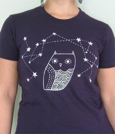 OWL SHIRT bird t-shirt by boygirlparty - Navy blue tshirt silkscreen shirt clothing women's men's unisex