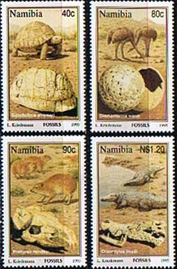 Namibia 1995 Fossils Set Fine Mint    SG 663 6 Scott 779 82    Other African and British Commonwealth Stamps HERE!