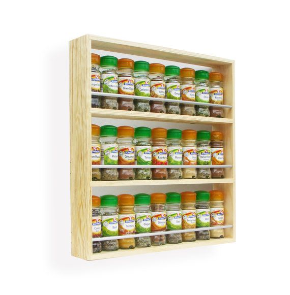 Solid Pine Spice Rack  3 Shelves Freestanding or Wall Mounted Kitchen Storage- Fits 15-36 spices
