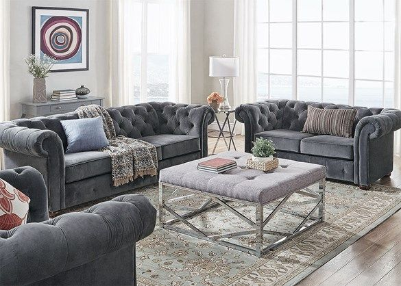 Barrington Charcoal Velvet 3 Pc Living Room The Roomplace