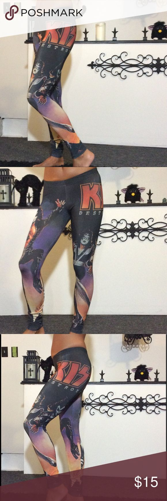 Kiss destroyer leggings small Hot topic brand kiss destroyer leggings size small, wore once in euc, varied deisgn w the band and graphics as shown, tags metal mulisha affliction goth gothic band tee rock revival miss me Hot Topic Pants Leggings