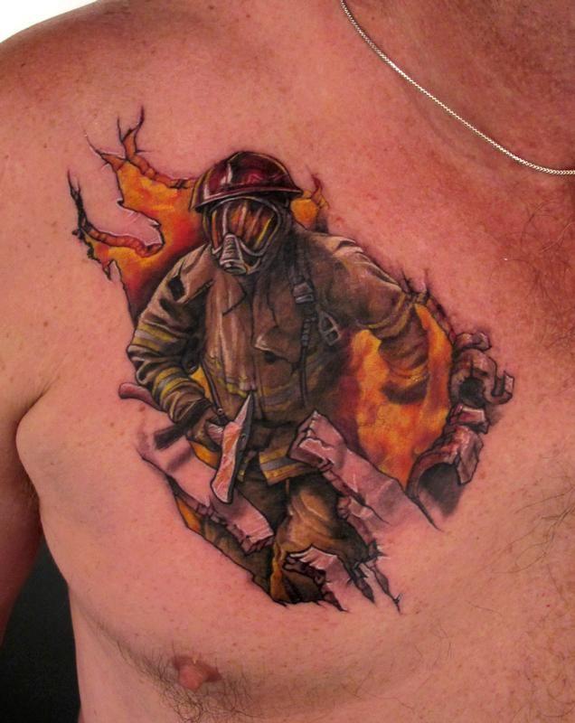 Firefighter chest tattoo by Stefano Alcantara - full color firefighter tattoo on chest.