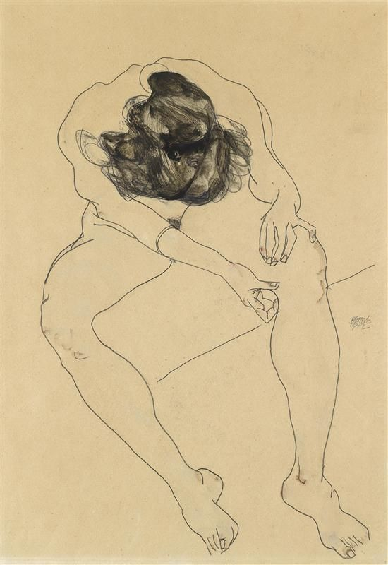 Egon Schiele.  Shiele's ability to make his statement, with great economy of line, is quite evident in this drawing.