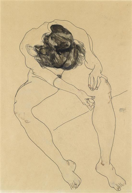 Egon SchieleFigures Art, Art Schiele, Egon Schieleexpress, Seats Female, View, Female Nude, Figures Drawing, Egon Schiele, 1912