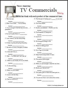 Those annoying TV commercials! … | Printable word games ...