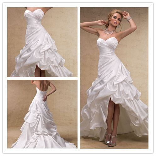 Fashion Hi Low Hem Destination Wedding Dress Short Front Long Back Bridal Gow