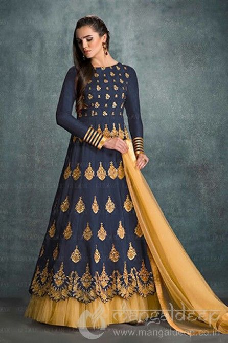 Blue Banglori Silk Embroidered Anarkali Salwar Suit For more information :- Call us @+919377222211 (Whatsapp Available)