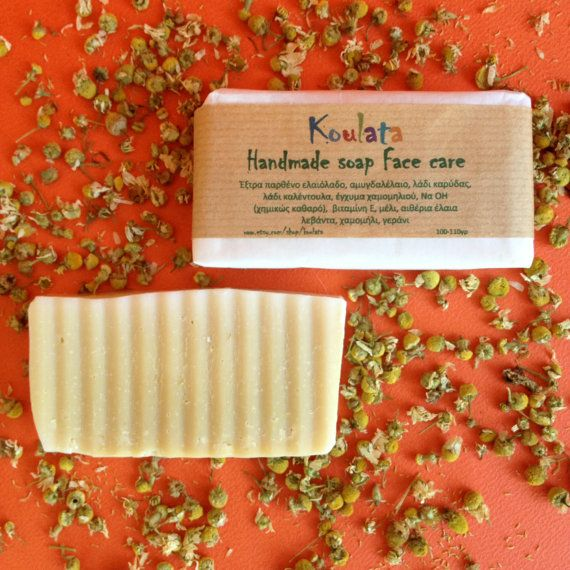 Natural face soap, non-allergic. Olive oil, daily face care soap,cold process. Calendula, chamomile soap 100- 110 gr