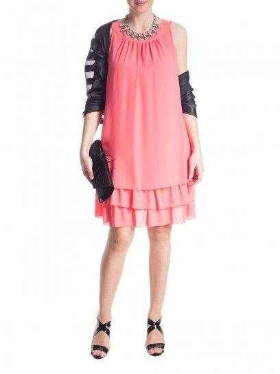 Abito elegante rosa corallo con balze Fiorella Rubino