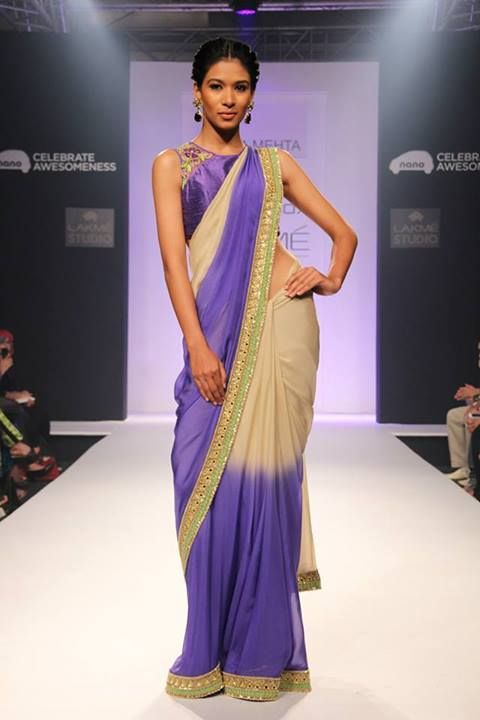 Lavender and off white chiffon saree with embellished borders, paired up with sleeveless designer blouse by Arpita Mehta, showcased at Lakme Fashion Week