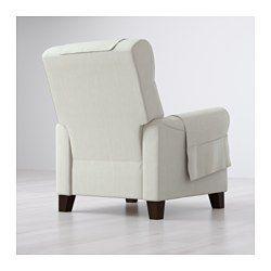 IKEA - MUREN, Recliner, Nordvalla beige, , When you lean backwards, the built-in footrest folds out.