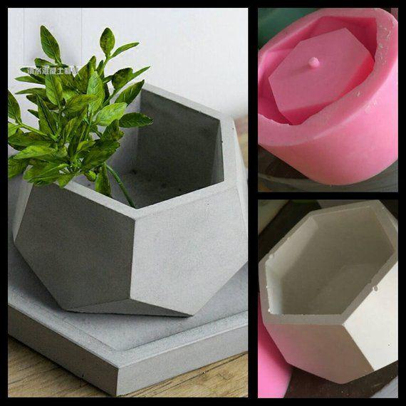 Hexagon Concrete Planter Silicone Mold Handmade Craft Home