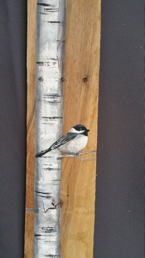 """42"""" TALL Reclaimed Wood Pallet Art, Hand painted White Birch with Chickadee bird, Cottage, Tall, upcycled, Wall art, Distressed, Shabby Chic"""