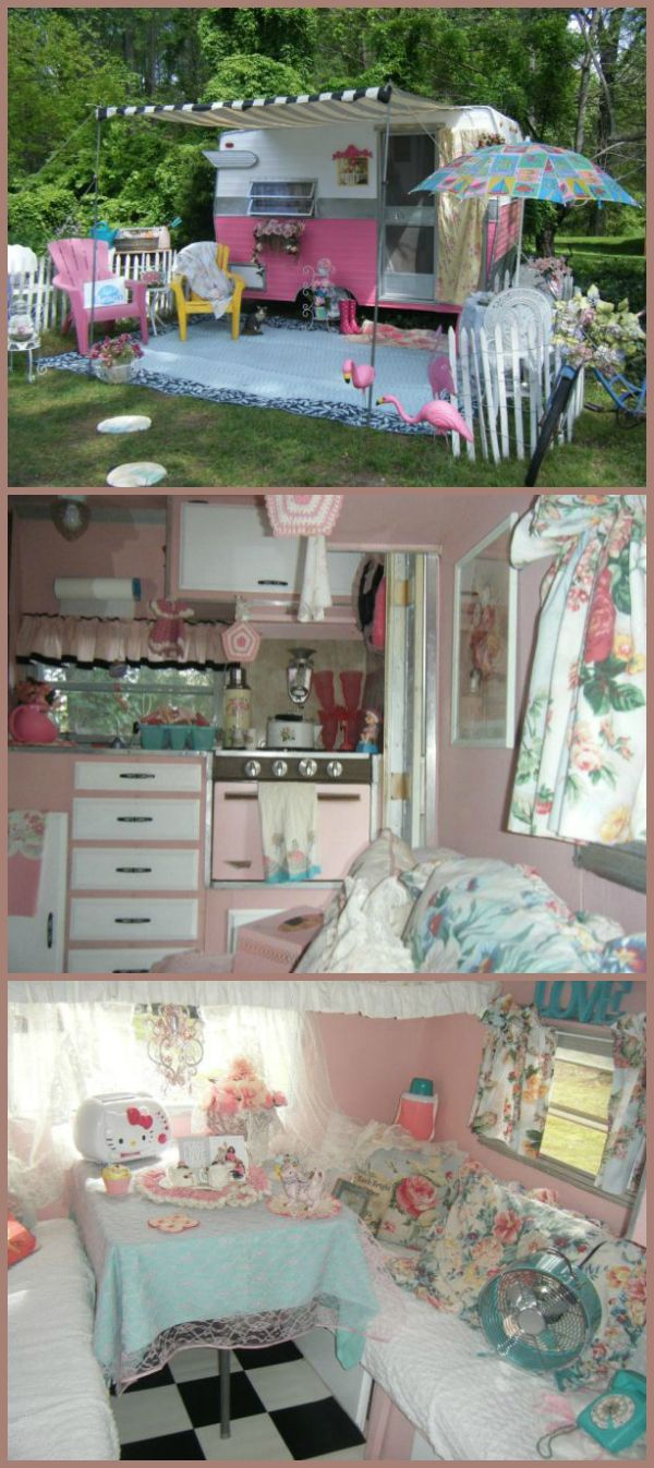"Vintage Shasta Compact trailer named ""Tea Rose""                                                                      what a cute idea"