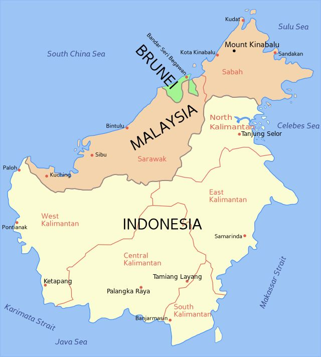 Mapa da região do Brunei desde 1890 // Borneo2 map english names ◆Brunei – Wikipédia http://pt.wikipedia.org/wiki/Brunei #Brunei