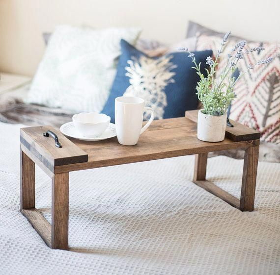 Breakfast In Bed Tray With Legs Wood Lap Desk Laptop Table For Bed Dinner Tray Serving Tray Gift For Her Farmh Bed Tray Diy Bed Tray Laptop Table For Bed