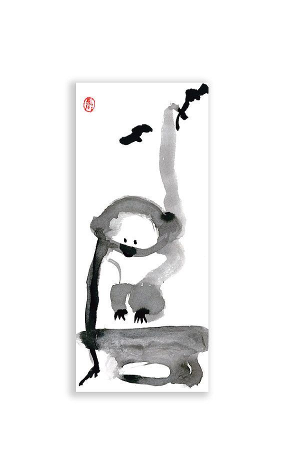 Monkey, Chinese New Year, Zen Chinese Zodiac, Original Sumi ink Zen Painting, zen decor, zen japanese illustration, childrens room art, j by ZenBrush