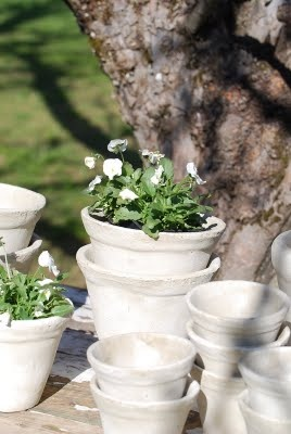 mooi kalkverf bloempot met viooltjes meteen voorjaar