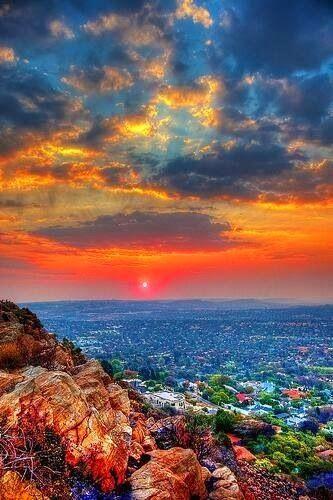 Northcliff Hill, Johannesburg, Sunset landscape.