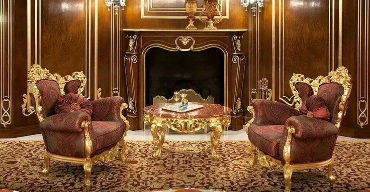 Royal red brown gold living room fireplace