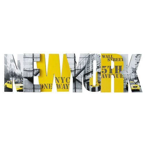 Déco murale jaune 25 x 90 cm BIG APPLE