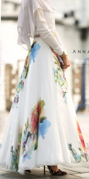 Silk Flower Maxi Skirt