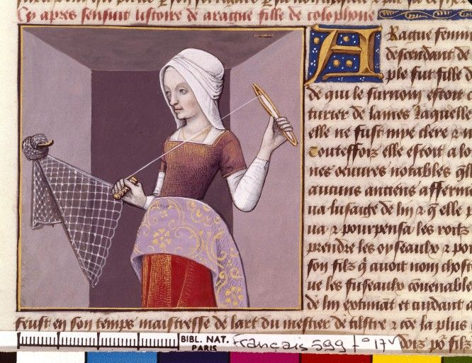 interesting lining fabric. Arachne making a net (fol. 17v), De mulieribus claris (BNF Fr. 599, fol. 22v), 15th-16th centuries.