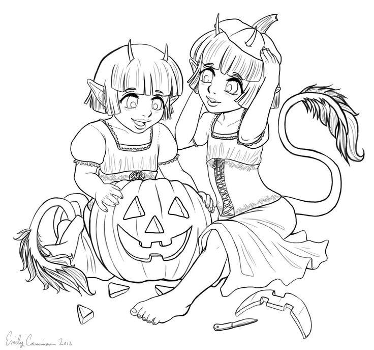 500 best coloriage sorciere demon halloween images on pinterest coloring pages coloring - Dessin diablesse ...