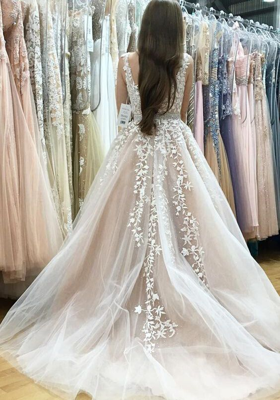 Deep V-neck White Lace Appliqued Nude Prom Dresses,Long Pageant Dresses,2017 Senior Prom Gowns,PD2073 · DidoPromCouture · Online Store Powered by Storenvy
