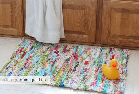 mamma pazza trapunte: come uncinetto un tappeto straccio con il filato tessuto