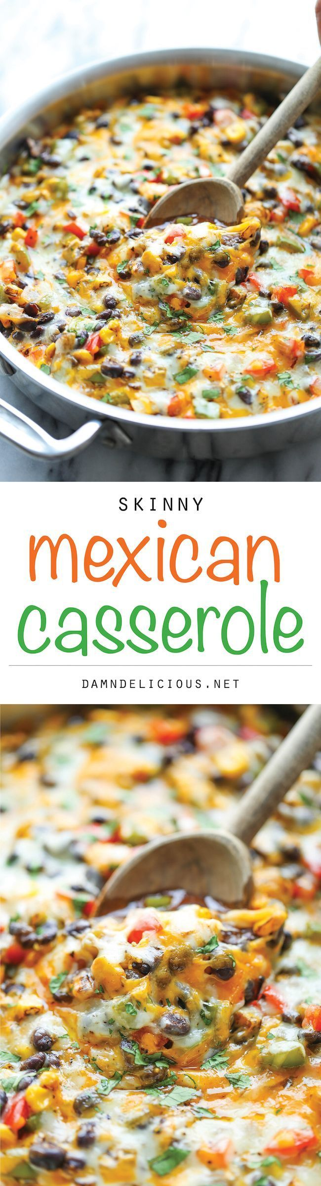 Skinny Mexican Casserole - A cheesy comforting casserole that you can enjoy guilt-free, chockfull of veggies and whole wheat tortilla. You can't beat that!