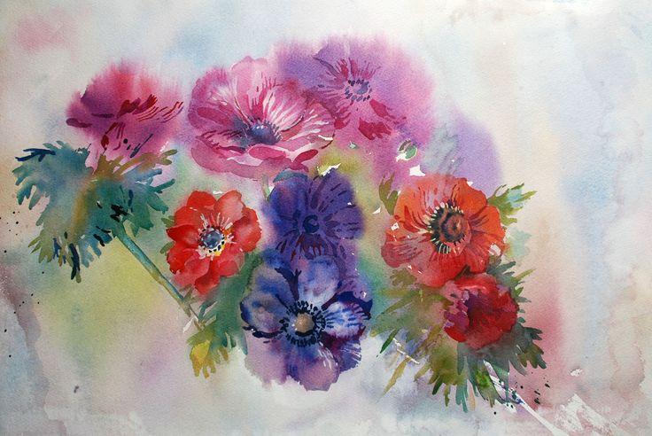 #анемоны, #watercolor, #цветы #акварель #flowers #painting, #anemone