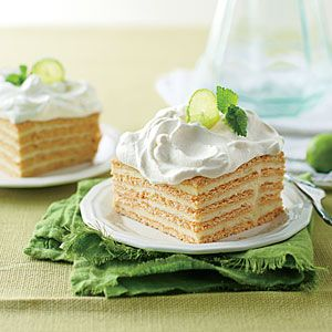Key Lime Icebox Cake | MyRecipes.com ~ 4/5 - I used key limes, and it was was very tart. Takes forever to zest the 10+ key limes to get 2 tablespoons. Probably would just zest a regular lime next time. With 1/4 c. cornstarch in the custard, it's hard to keep lumps out. Stir constantly. It looks pretty so I might make it again. Plus is that it can be made ahead and kept frozen.