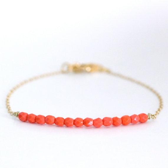 beadedCoral Beads, Beads Bracelets, S'Mores Bar, Coral Bracelets, Gold Bracelets, Beaded Bracelets, Bracelets Coral, Beads Bar, Bar Bracelets