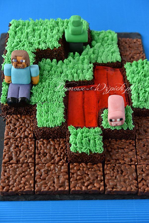Tort urodzinowy inspirowany grą komputerową Minecraft wykonałam na dziewiąte…