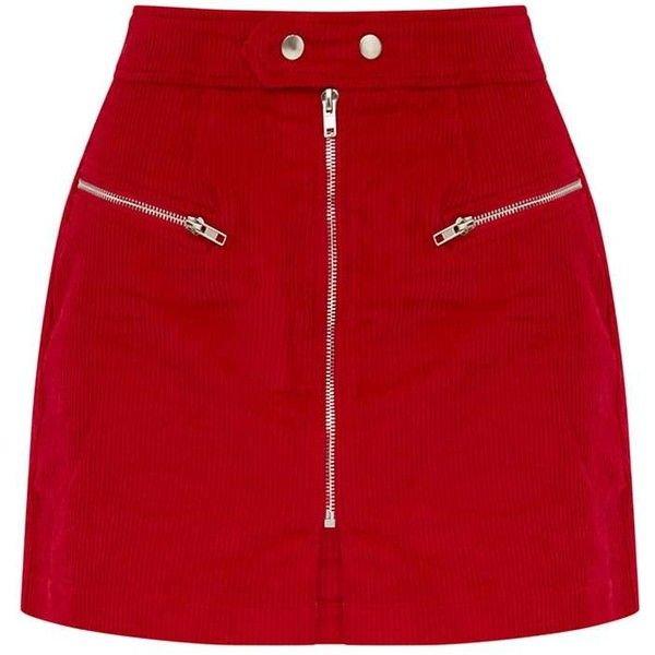 Red Cord Zip Up Mini Skirt (€42) ❤ liked on Polyvore featuring skirts, mini skirts, red skirt, cord skirt, cord mini skirt, red mini skirt and mini skirt