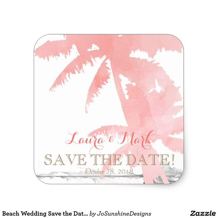 Beach Wedding Save the Date Coral Palm Trees Wood