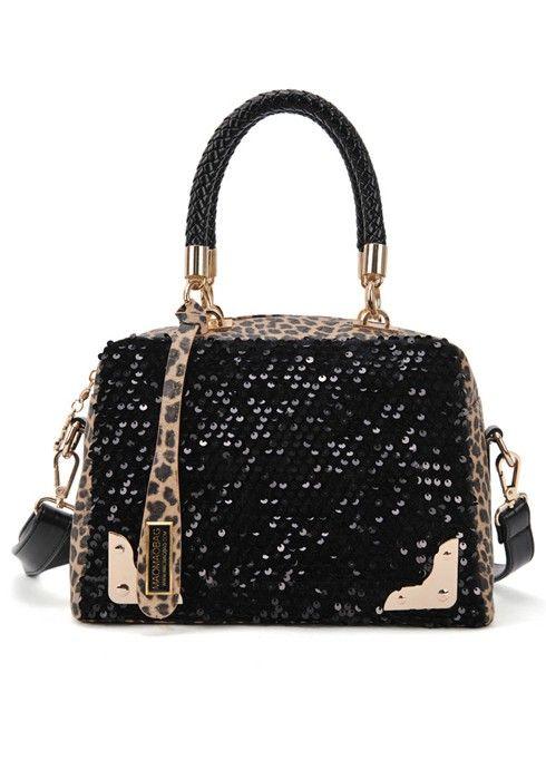 LOVE this Bag! Black Leopard Patchwork Sequin Leather Messenger Bag #Leopard #Bling #Purse
