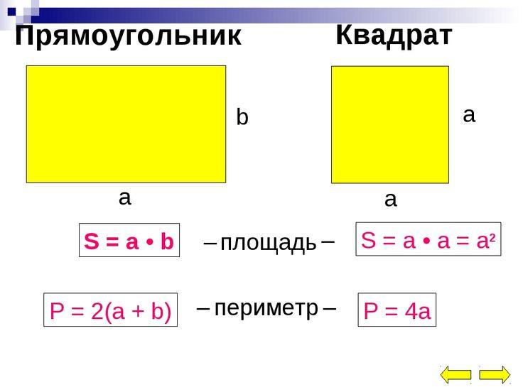 площадь периметр прямоугольника и квадрата: 11 тыс изображений найдено в Яндекс.Картинках