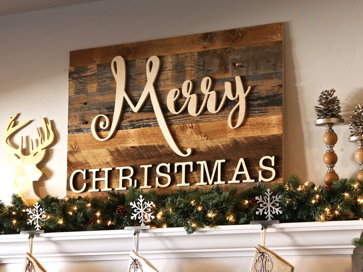 Reclaimed Wood Merry Christmas Sign | Merry Christmas Mantle Sign | CraftCuts.com