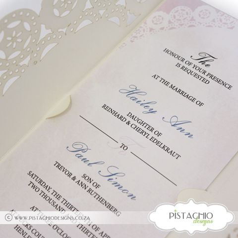 Wedding Invitation on Doiley with Fold