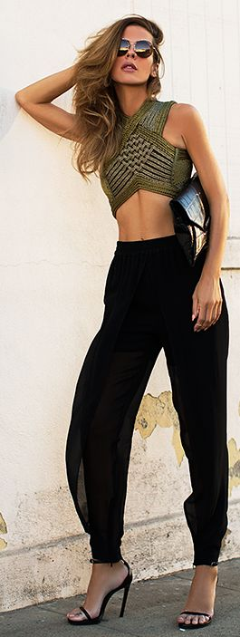 Balmain Gold Corded Criss Cross Top, chiffon harem pants                                                                                                                                                     More
