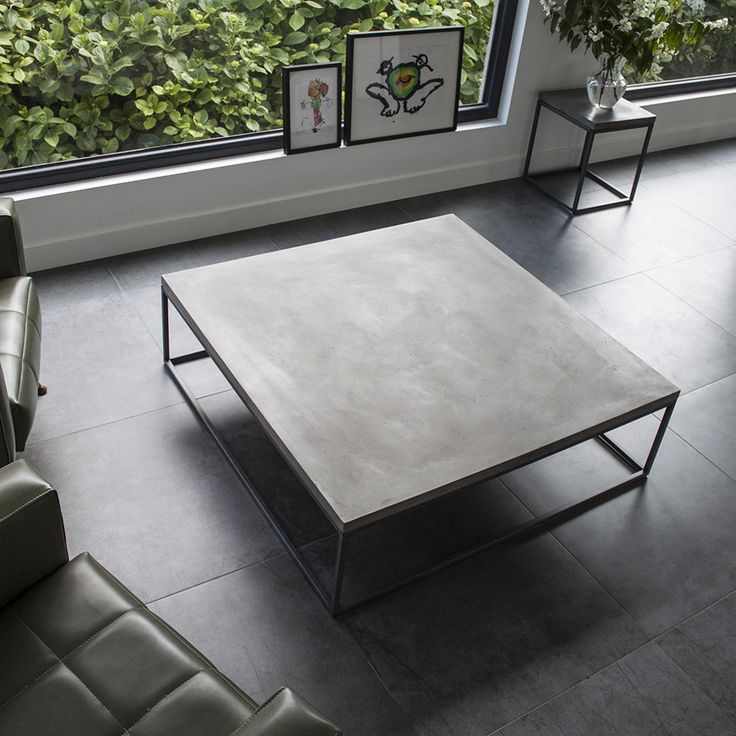 Add a dash of industrial chic to the home with this Perspective coffee table from Lyon Beton. Available in two sizes, this statement coffee table has a base of shining steel topped with a single concr