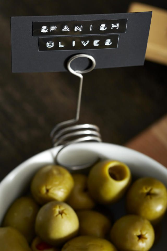 New menu labeling idea! Use Stainless Ingredient Springs along with a label from your Dymo Embossing Label Maker to point guests around the menu.