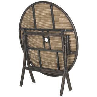 Safavieh Outdoor Living Brown Pe Wicker Round Folding
